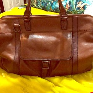 Leather fossil duffle bag